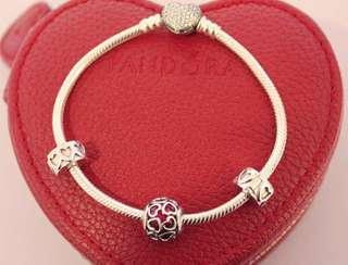 Pandora Valentine's Pave heart set