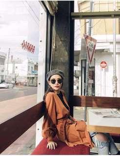 🚚 轉賣漢娜妞Mercci22自創品牌水洗感貝蕾帽灰色黑色韓國製stylenanda