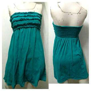 SALE preloved classy small teal blue tube cotton flowy dress