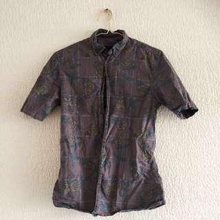 🌻ASOS Maroon Rose Pattern Men's Button-Up Shirt