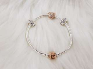 SET - Rose iconic bracelet 19cm; Love and Appreciation charm