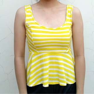 Casual Couture Yellow Peplum Top