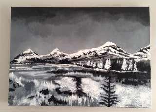 Lukisan Mountain & Lake
