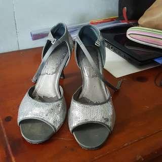 Silver Sequined Heels