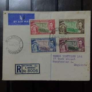 [lapyip1230] 英屬南羅德西亞 1937年 喬治六世登基 航空掛號實寄封