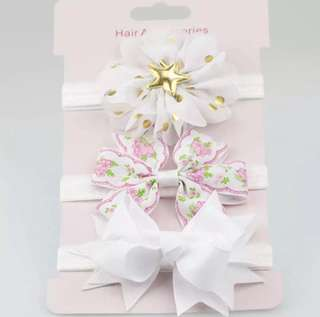 *In Stock* BN 3pcs Flower Floral Bow Knot Hairband Headband for Baby Girls / Toddlers (White)