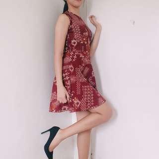 Maroon Printed Dress