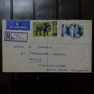 [lapyip1230] 非洲肯亞 1967年 航空掛號實寄封