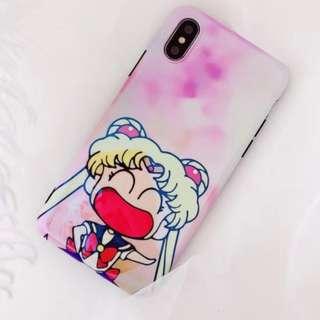 手機殼IPhone6/7/8/plus/X : 可愛大笑美少女藍光全包黑邊軟殼