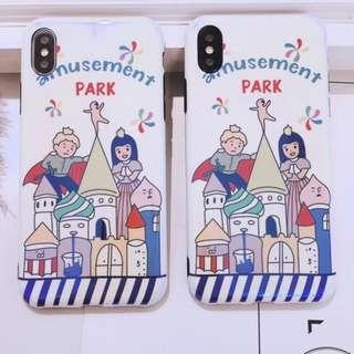 手機殼IPhone6/7/8/plus/X : 公主王子城堡藍光全包黑邊軟殼