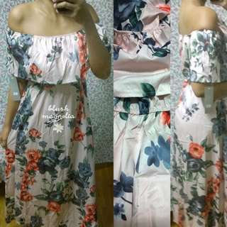 Creamy Blush Floral Maxi Dress