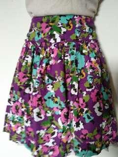 Purple floral ruffle skirt