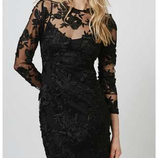 BNWT Topshop Lace Bodycon Dress Black Floral Wedding Top Shop Brand New Bn Event Gown Midi Maxi Fully Lined A Line Aline