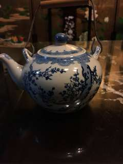 Vintage blue and white tea pot
