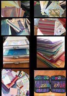 Papers, scissors, cards + storage  for scrapbooking
