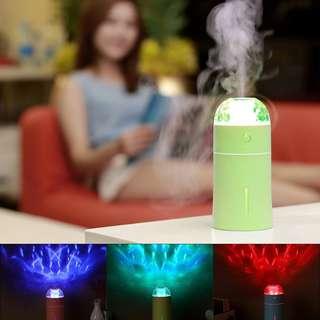 HS1094 - 便攜式多色LED燈Cool Mist加濕器超靜音,可自動關閉辦公室家用車(綠色)