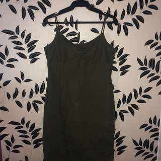 Army Green Thin Strap Dress
