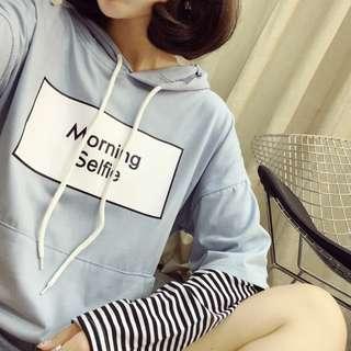 PO Ulzzang Morning Selfie Fake 2 Piece Stripe Long Sleeve T-Shirt 3 Colours