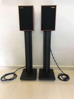 Harbeth P3ESR Rosewood Speakers with Speaker Stands and Wires