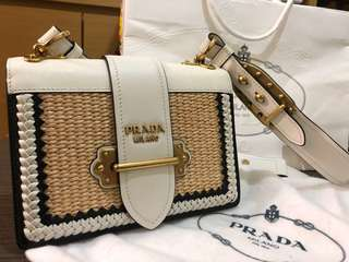2018最新Prada Cahier bag in leather and woven raffia