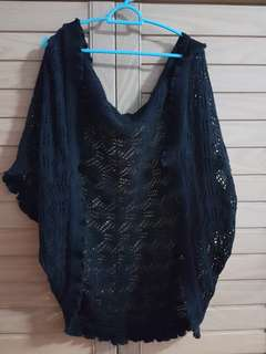 Versatile Black knitted lacy shawl