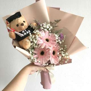 Gerberas with Baby Breath for Graduation Bouquet / Grad bear add on