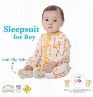 9-24M • 3pcs Baby Sleepsuit toddler footed sleepsuits with anti-slip sole