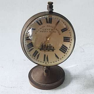 Vintage RAILWAY REGULATOR LEVER SWISS MADE Small Table Clock Rotating Globe Style