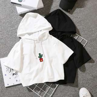 PO Ulzzang Cactus Print Embroidery Smiley Face Short Sleeve Hoodie T-Shirt 2 Colours