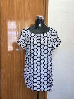 Black&white Circle Print Blouse