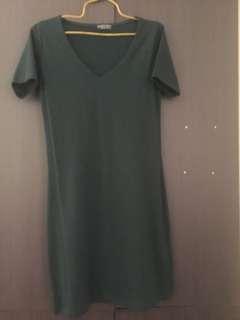 Forest Green bodycon Vneck dress