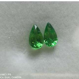 Green Garnet(Tsavorite) Pair 1.42cts 2 pcs 7.28x3.76x3.60mm
