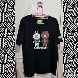 T Shirt Giordano Black Line Brown
