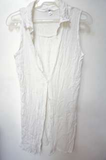 Plain white cover up/top