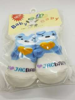 Korean Baby Socks 0-12 months (Bear Blue White)