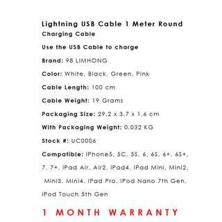 Lightning USB Cable 1 Meter Round