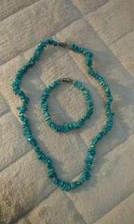 Blue Turquoise Stone Set (Kalung & Gelang)
