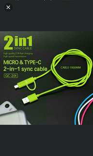 🆒🆕 GOLF Type-C Cable 2 in 1 Type-C & Micro USB Cable for Smart Phone Data Sync Charge Cable for HUAWEI for Samsung for iPhone ONLY BLUE AVAIL