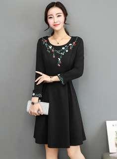 Long-Sleeve: Black Floral Embroidered Long Sleeve A-Line Dress (M / L / XL / 2XL / 3XL) - OA/DZD081834