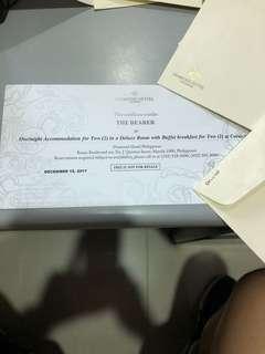 Diamond hotel Deluxe room gift certificate vouchers