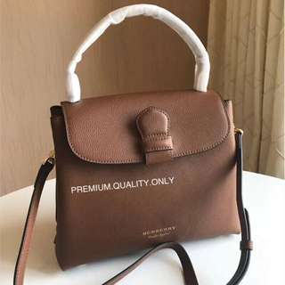 Burberry Grainy Leather House Check Tote- brown