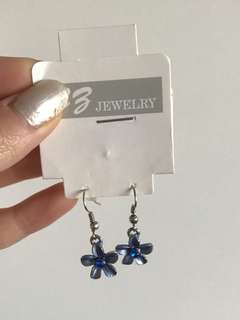 CB jewellery blue flower dangly earrings