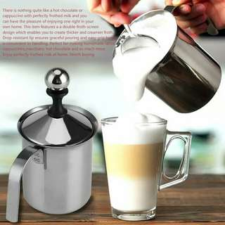 400ML/800ML Stainless Steel Milk Frother Cappuccino Creamer Foam Coffee Pull Flower Cup Double Mesh Milk Frothers Mugs