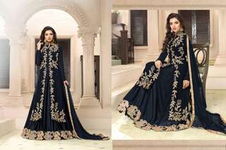 Designers Georgette Gowns with Embroided Works