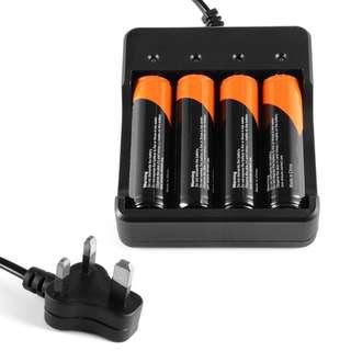 LD918 - 4個18650可充電電池+ 4通道鋰離子電池充電器