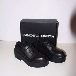 Windsor Smith Lissa Black Leather Shoes Size 10 Excellent Condition