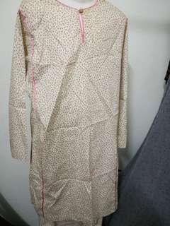 Cream Floral Cotton Baju Kurung (12 yrs)