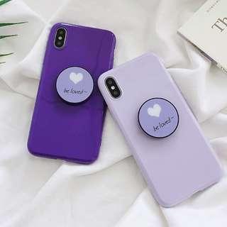#手機殼IPhone6/7/8/plus/X : 紫色愛心配氣囊支架全包邊軟殼
