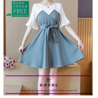 甜美款高腰條紋假兩件拼接連身裙 A8482