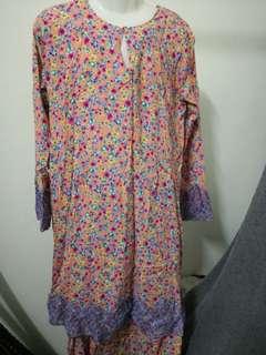 Pink Floral Baju Kurung Cotton